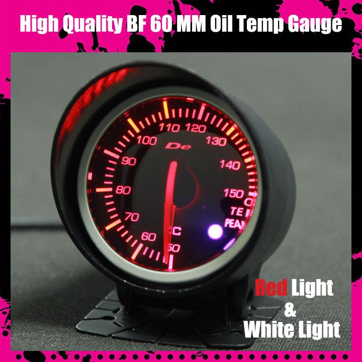 dayo df defi bf 60mm medidor de temperatura do óleo alta qualidade medidor de temperatura do óleo com vermelho& luz branca(China (Mainland))