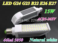 LED Horizontal Plug Lamp 15W E27 G24 E26 G23 B22 led bulb AC85-265V Input SMD5050 44pcs LED Chip natural white