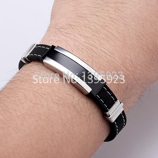 1pcs Fashion Trendy Male Men's Bracelet Cuff Wristband Cuff bangle Silver Stainless Steel Black Rubber Belt(China (Mainland))