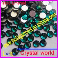 Size ss3-ss34 available Super shiny crystal emerald color non hotfix rhinestones Imitation to swarov stones for car decoration
