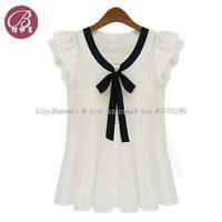 2014 summer new commuter shirt fashion chiffon shirt blouse short sleeve shirt Women tee free shipping