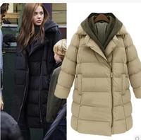 Free Shipping 2014 New Original Fur Lapel Cotton-Padded Clothes Autumn Winter Jackets Fashion Women Long Jacket Average-Size