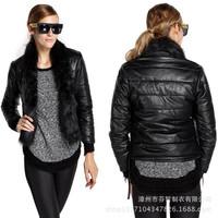 Female 2014 New Brand Warm Winter Short Down Jacket Solid Women Faux Fur Coat Winter Warm Fur Collar Down Leather Jacket
