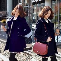 2014  new Fashion  Autumn Winter women woolen coat Outerwear Turn-Down Collar Long Wool  jacket casacos femininos