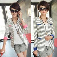 Details about NEW Women Slim stripe Short Blazer Suit Jacket Coat Long Sleeve lady blazers top BL002