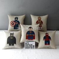 Free Shipping Linen Cotton Super Heros Spideman Superman Batman Captain America Cushion Cover /Pillow Cover /Decorative Pillow
