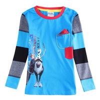 Discount Frozen kids Boys Long sleeve T-shirt Hot Cartoon Kristoff Sven Olaf round collar Blue Children Tops tees cotton 2-6Y