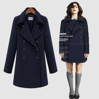 Wholesale New fashion 2014 autumn winter jackets coat long uniform style double breasted women wool blends coat work wear blue