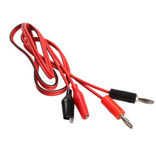 Hot Selling  1 Pair Alligator Testing Cord Lead Clip to Banana Plug for Multimeter Test  E5M1