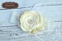 6 pcs/lot Ivory  Layered Poppy Flower Matching Feather and Shabby rosettes baby Headband