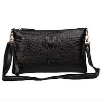 New 2015 Women Messenger Bags Handbag Genuine Leather Cowhide Crocodile Pattern Shoulder Bag Day Clutches Famous Brands YK80-467