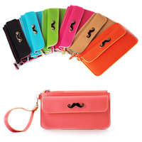 2015 new Korean fashion candy color wallet ladies pu soft leather mustache purse free drop shipping
