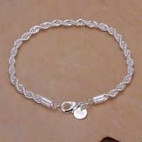 2014 New Arrivel Free Shipping Silver plated Cuff Chain Charm Flash twisted rope Bracelet Jewelry Bracelet SMTH207