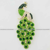 Large crown Fashion vogue green grass bling crystal rhinestone feather peacock phoenix bird peafowl pin gold brooch jewelry
