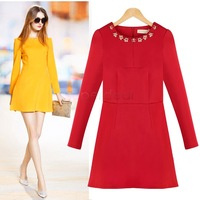 New Hot Red Dress Evening Women Dress Winter Elegant Autumn Winter Slim Thin Long-Sleeved Dress Beaded Dress Sexy Sv18 Cb031654