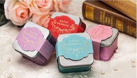 Free shipping Red Pink Blue Tin favors candy box elegant wedding favors metal gifts boxes bridal favor boxes