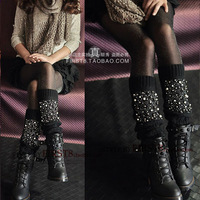 Jewelry bling fashion leg cover pile of pile of socks wool knee-high socks set boot covers 3 double