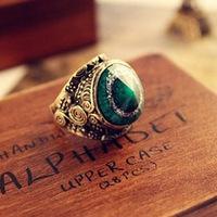 Superb! Best Retro Vintage Bronze Big Green Stone Gothic Rock Eye Carved Ring OnfineAlipower