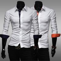 2014 hot sale Free Shipping New Mens Shirts fashion  Casual Slim Fit Stylish Mens Dress Shirts