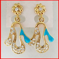 """MIN ORDER 10$/18K YELLOW GOLD GP OVERLAY FILL BRASS HAND SHAPED STUD DANGLE TALL 1.38"""" EARRING/GREAT GIFT/"""