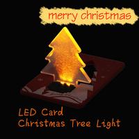 Super!!Pocket Folding Christmas Tree Shape LED Light Credit Card V3NF