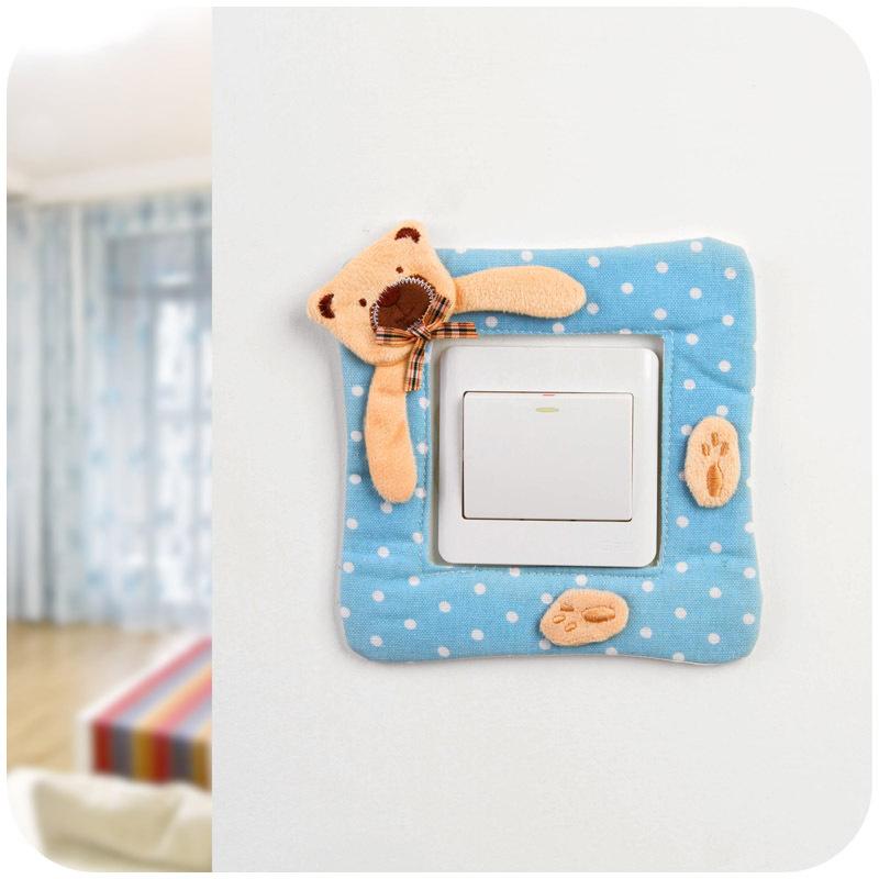 Korea cartoon Winnie switch stickers creative outlet switch fabric switch sets decorative sleeve K3585(China (Mainland))