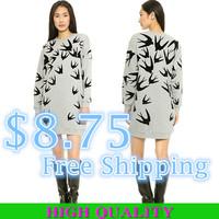 New 2014 Autumn Woimen Sweatshirt Casual Women Hoody Swallow Printed Cotton T Shirt  Hoodies Sport Suit Women Long Pullover