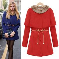 2014 Autumn Winter Woolen Overcoat With Cloak Two Pieces Women's Wool Coats Fashion Fur Collar Single-breasted Woolen Outerwear