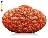 gorgeous fashion women's crystal clutches handbag luxury top quality blue golden red love flower evening dress bag