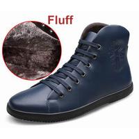CE 2015 Genuine Cow Leather zipper Warm Plush Fur Boots men Winter Flat Casual Snow Boots Waterproof Rubber shoes Big Size 38~46