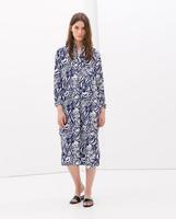 European Style 2014 new clothing kaftan dress Blue and White Womens long coat asymmetric decorative prints Long dress V
