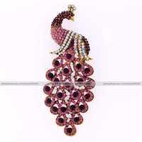 Large crown Fashion vogue purple amethyst crystal rhinestone feather peacock phoenix bird peafowl pin brooch jewelry