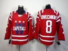 NHL Mens Jersey #8 Alex Ovechkin Red Ice Hockey Jersey Cheap Sale,Mix Order,Cheap NHL Jerseys(China (Mainland))