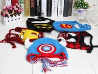 50pcs Handmade The Avengers superman spiderman batman Knitted  crochet wool hat with ear flap Children Crochet Hat cap