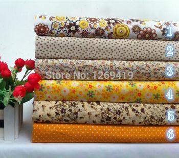 Новый! 6 шт. 50 * 50 см желтый цветочный печать хлопчатобумажная ткань жира квартал расслоение для DIY ткани для лоскутное шить детские игрушки стежка домашний текстиль