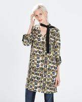 Geometri Printed European counters and the fall of 2014 new matching color ribbon printing Womens slim fit long blouse shirtV