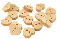 Wooden Heart Shape Buttons, for DIY Accessories,Children's Clothing,Sweater,for Handmade Decorations,20 pieces/lot