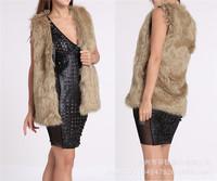 2014 New Fashion Women Faux Fur Vest Winter Sleeveless Luxury Fur Coat Long Plush Fur Grass Artificial Leather Vest Fur Vest