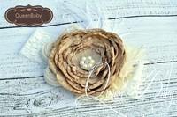 6 pcs/lot Tan Layered Poppy Flower Matching Feather and Shabby rosettes baby Headband
