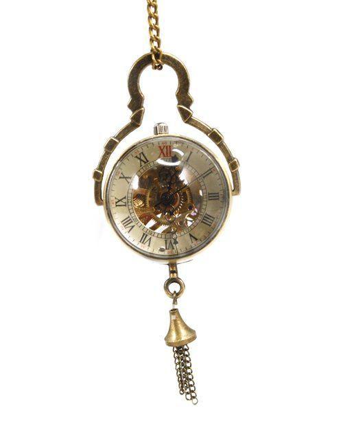Steampunk Bronze Skeleton new bronze glass ball mechanical pocket watch with chain(China (Mainland))