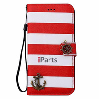 Hot Vintage Sailor Anchor Stripes Leather Wallet Full Body Flip Cover Stand Case with Lanyard for iPhone 6 4.7""