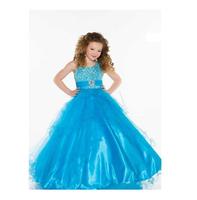 2015 New Custom Made Shine Blue Princess Halter Floor Length Ball Gown Flower Girl Dresses Pageant Dresses Formal Occasion