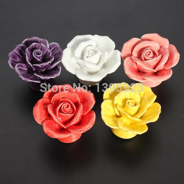 1pcs Vintage Rose Flower Ceramic Knob Cabinet Drawer Kitchen Cupboard Pull Handle(China (Mainland))