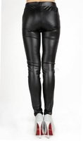 2014 New Fashion Sexy Shiny Metallic High Waist Black Stretchy Leather Leggings Pants Free shipping SV22