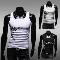 2014 Cool Men T shirt Singlet Tops Vest Slim Fitted Gym Sports Sleeveless