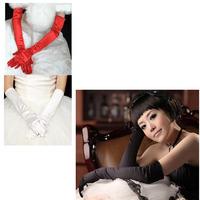 Women Long Stretch Satin Bridal Glove Prom Opera Evening Wedding Costume Gloves