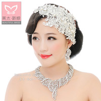 Bridal Lace Pearls and Crystal Headpiece Wedding Hair Accessories Side Tiara Wedding Jewelry