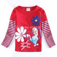 hot sale Girls Long sleeve T-shirt False 2pcs Autumn Bow round collar Hot Frozen Cartoon elsa & anna Children Tops tees Red 2-6Y