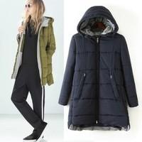 2014 New arrival Ladies' elegant sweet hooded padded long coat warm winter long sleeve zipper pocket outwear casual slim coat