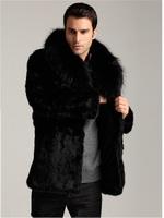 2014 faux fox fur overcoat medium-long outerwear Men slim